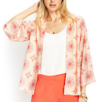 LOVE 21 Medallion Kimono Cardigan Peach/Coral Large