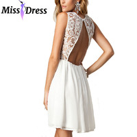 Women Sexy Club Dresses Party Night Club Backless 2016 Women Summer New Fashion White Lace Short Prom Mini Dresses MISSDRESS