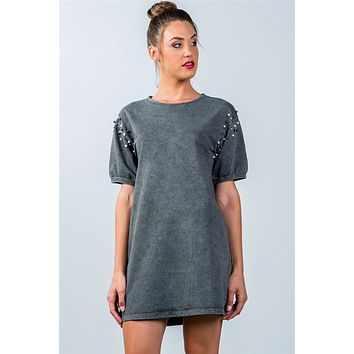 Ladies fashion loose fit pearl beaded shoulder loose tunic top