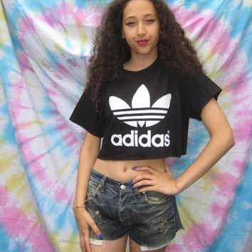 classic old skool adidas crop top hipster swag grunge trash festival ibiza