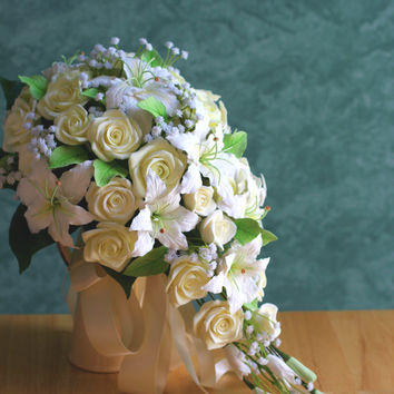 Cascading Bouquet with Lilies, Roses, and Baby Breath, Bridal Bouquet, Wedding Bouquet