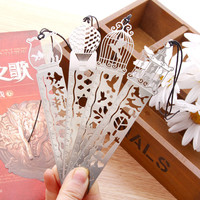 Delicate cutout book mark ultra-thin metal bookmark Fish Bird Carousel Hot Air Balloon