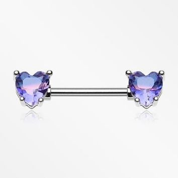 A Pair of Brilliant Bio Tourmaline Sparkle Heart Prong Nipple Barbell