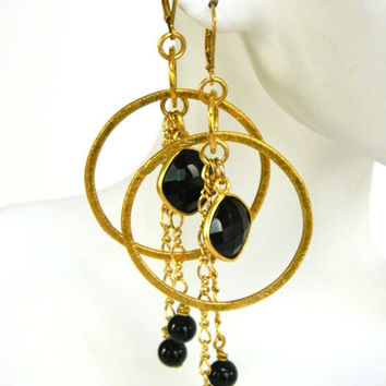 Black Onyx Gemstone Dangle Earrings Handcrafted Gold Hoop Long