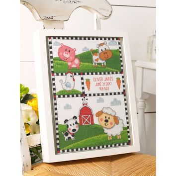 "Farm Animals Birth Record Counted Cross Stitch Kit-10.5""X13.25"" 14 Count"