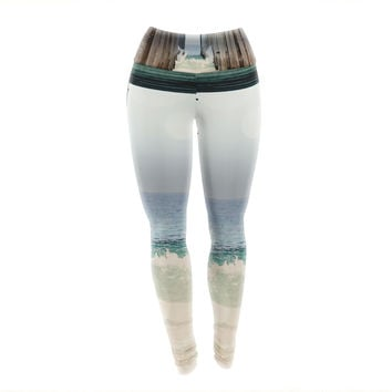 "Sylvia Coomes ""Under The Pier"" Blue Brown Yoga Leggings"