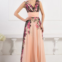 Deep V-Neck Empire Waist Floral Printed Chiffon Maxi Dress