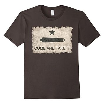 Historical Texas Come and Take it Flag T-Shirt in Sepia