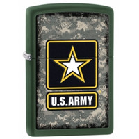 Zippo 28631 Classic Green Matte US ARMY Heroes-Military Windproof Pocket Lighter