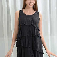 Tiered Pompom Ruffle Tunic - Black