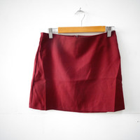 90s High Waisted Burgundy Simple Mini Skirt