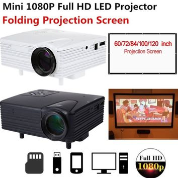 Full HD 1080P Mini Portable LED Projector & Portable & Collapsible 60 inch 16:9 Folding Projection Screen