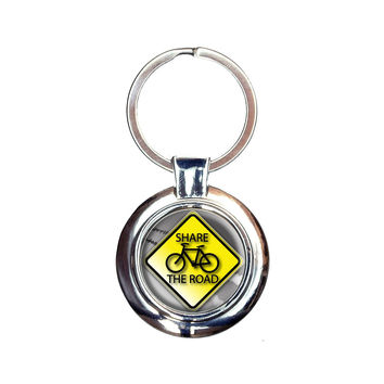 Share The Road Bicycle Stylized Yellow Grey Sign Keychain