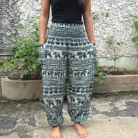 Trousers Yoga Pants Elephants Print Hippie Baggy Boho Hobo Fashion Style Clothing Rayon Gypsy Tribal chic Clothes Exercise For Beach Green