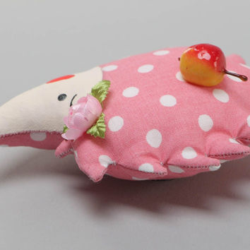 Handmade fridge magnet soft toy sewn of polka dot pink cotton fabric Hedgehog