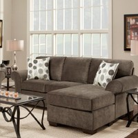 Roundhill Furniture Fabric Sectional Sofa with 2 Pillows, Elizabeth Ash