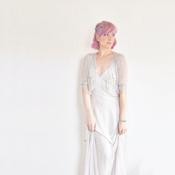 pale blue sequin bridal bolero . 1920 style sheer wedding cover up .extra small.xs
