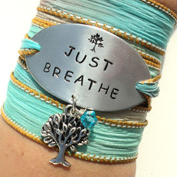 Just Breathe Silk Wrap Bracelet Yoga Jewelry Tree of Life Hand Stamped Teacher Unique Gift For Her Stocking Stuffer Under 50 Item K68
