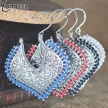 Yumfeel New Hand Thread Vintage Hoop Earrings Jewelry Antique Silver Plated 4 Colors Red Blue Beige Black Earring Gifts Bohemian