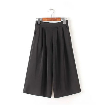 Women's Fashion Summer Black With Pocket High Rise Pants [4920286276]
