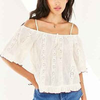 Patrons Of Peace Crochet Cold-Shoulder Top - Urban Outfitters