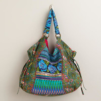 Blue Floral Embroidered Bag | World Market