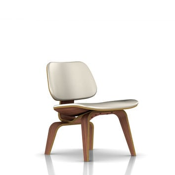 Eames® LCW / Molded Plywood Upholstered Lounge Chair-Leather