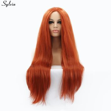 Sylvia Yaki Straight Red Brown Color Synthetic Lace Front Wigs Long Soft Fluffy Natural Orange Red Heat Resistant Hair Forwomen
