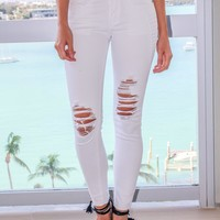 White Distressed Moto Jeans