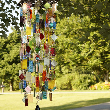 Stained Glass - Colored Glass - Wind Chimes - Sun Catcher - OOAK - Souvenirs