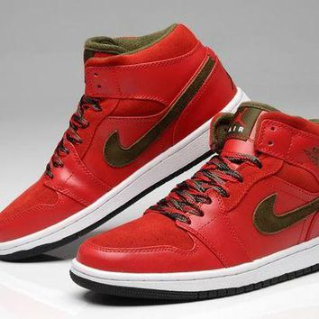 PEAPON3A VAWA Men's Nike Air Jordan 1 Retro High Leather Basketball Shoes Red Brown