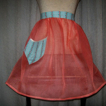 12-0808 Vintage 1960s Sheer Hostess Apron / Vintage Apron / Apron / Orange Apron
