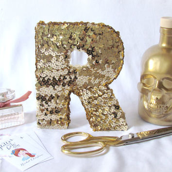 SEQUIN LETTER gold silver black white wedding monogram mantle decor office desk decor sparkly housewarming birthday baby nursery decoration