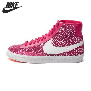 Original NIKE WMNS BLAZER MID PRINT Women's Skateboarding Shoes High-top Sneakers