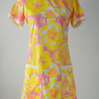 The Lilly - Vintage 1960s Yellow, Orange & Pink Cotton Summer Dress by Lilly Pulitzer, Medium