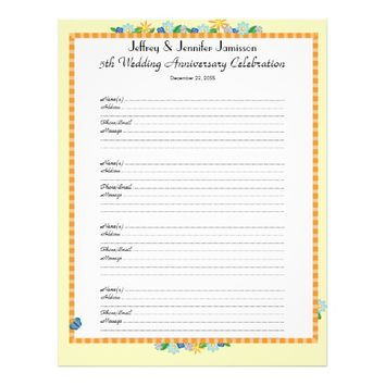 5th Anniversary Party Guest Book Sign-In Page