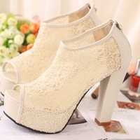 Sexy Lace Hollow out Womens Shoes Tassel Zip High Heels Peep toe Pump Sandal*