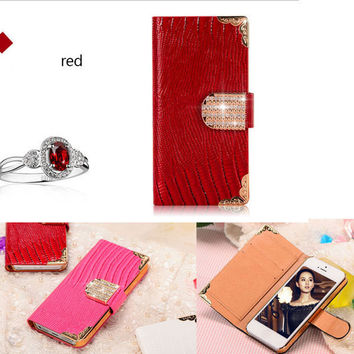 Luxury Bling Wallet PU Leather Case For Apple iPhone 4 4S 5 5S Fashion Shining Rhinestone Buckle Plastic Cover