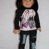 18 inch doll clothes, black and pink graphic print shirt, cat print shirt, dark denim ripped skinny jeans, american girl ,maplelea