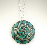 Jade Green Necklace Pendant  - Hand Painted Noble Artisan Wood Jewelry