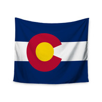 "Bruce Stanfield ""Flag of Colorado II"" Blue Red Wall Tapestry"