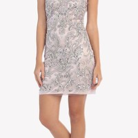 Silver V-Neck Beaded Short Homecoming Sheath Dress