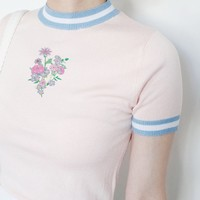 just take these flowers knitted top