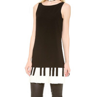 Black Piano Keyboard Print Mini Dress