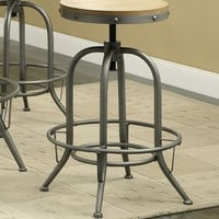 Set of 2 home bar counter / bar height stools rustic antique blackish grey metal finish frame round distressed wood seat