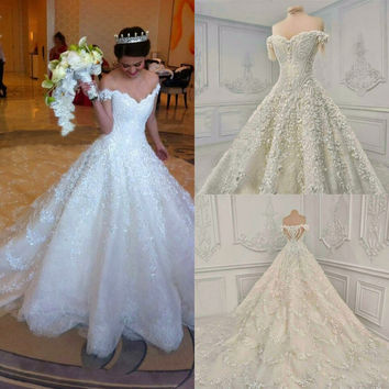 Luxury Cathedral Royal Wedding Dresses long Tail A Line Boat Neck Floor Length See through Back Bridal Gown
