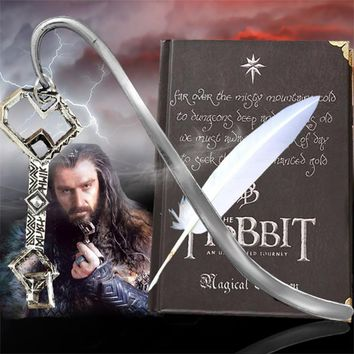 3 In1 Vintage The Hobbit Notebook Book &Bookmark&Feather Pen Treasure Key From The Lord Of the Rings Agenda Planner 2017 Daily