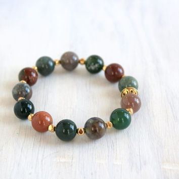 Bohemian Stretch Bead Jasper Bracelet Natural Stone Jewelry Moon Star Stack Bracelet
