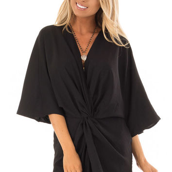 Black Twisted Front Kimono Style Dress