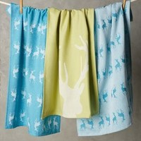 Prancing Reindeer Dishtowels by Anthropologie Blue Motif One Size House & Home